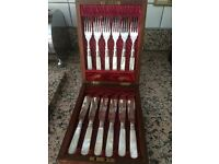 Six Piece Sterling Silver and Mother of Pearl fish knife and fork set