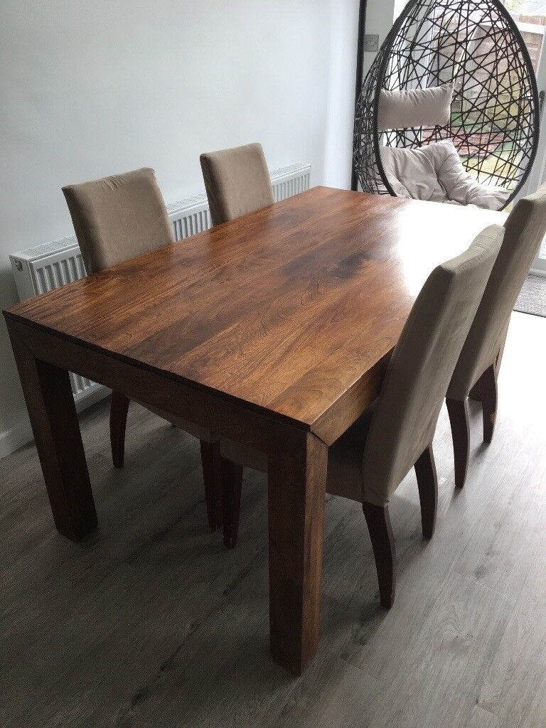 Dark Mango Wood Dining Table 160 X 90cms And 4 Chairs