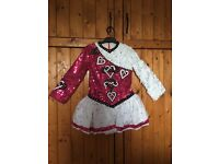 Irish dancing dress done in half white ruffle and half pink sequin would suit age 6-8