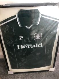 Plymouth Argyle title winners 2001/02 signed and framed shirt
