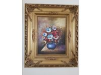 Assorted Floral Canvas Oil Painting in a Fancy Wooden Frame