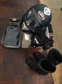 Motorbike helmet, boots, gloves, oxford chain, waterproof suit