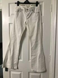 Karen Millen white denim bootleg jeans size 10
