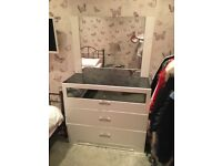 Stunning Olivia White High Gloss & Crystal Chest of Drawers with mirror and bedside table