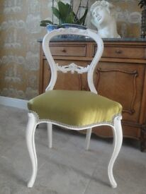 Victorian Mahogany Balloon Back Chair upcycled bedroom chair
