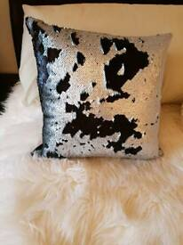 Two mermaid sequin cushion covers