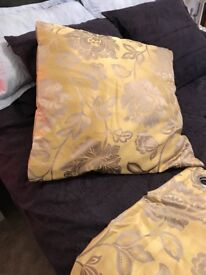 2 PAIRS MATCHING CURTAINS & CUSHIONS