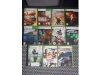 X BOX 360 SLIM with 11 games and wired blue controller