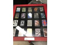 Zippo lighters a display case