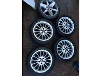 "4x Saab or vauxhaull 17"" alloy wheels. 225/45/17 with tyres"
