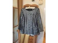 Size 12 metallic grey sequinned boden top.