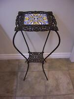 Antique iron stand with ceramic tile top