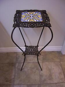 Antique iron table with ceramic tile top