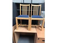 Blue & Beech Fabric Chairs