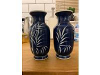 Vintage blue pair of vases, hand painted