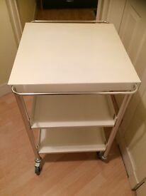 White Trolley On Wheels In Immaculate Condition