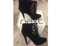 Next Size 4 Black Ankle Boots in Very Good Condition