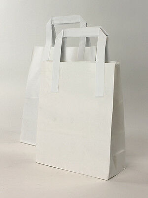 250 x White Paper Carrier Bags 10x15x12 NEXT DAY