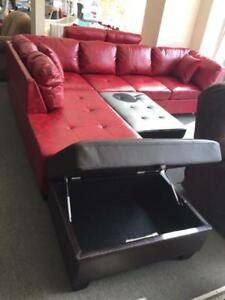 LORD SELKIRK FURNITURE - New Jersey Sectional with Chaise in Brown/ Black/ Red - $899.00
