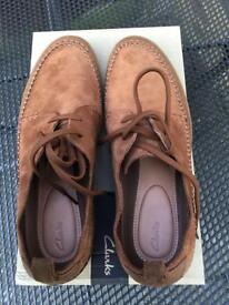 Clarks Kessell Craft tan suede shoes