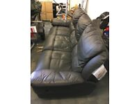 3 Seater leather recliner settee - not sure if recliner still works. Free for collection