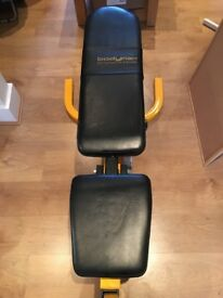Body Max bench, squat tack & barbell with weights