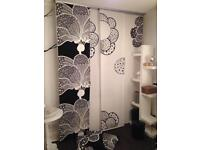 Black and white 4 x curtain panels + ceiling fixing + matching cushions