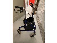 Tri wheeled Walker with storage pouch