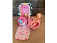 Toy baby bath set and baby carrier