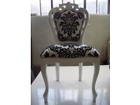 White & Black Damask Dining Chair