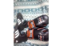 Good quality boxing gloves and size 7 boxing shoes.