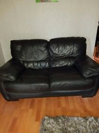 Black leather 2 & 3 seater sofa