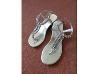 Sandals, silver with decorations