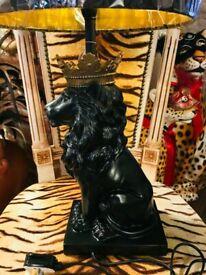 NEW BLACK LION & GOLD REGAL CROWN DECORATIVE LAMP & SHADE