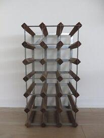 Traditional Wood/Galvanised Steel Wine Rack