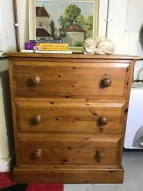 Solid pine / solid wood chest of drawers farmhouse/ rustic style