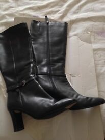 Ladies leather black boots size 4 M&S