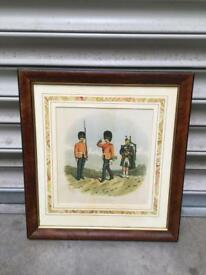 RARE VINTAGE RETRO ANTIQUE ROYAL SCOTS FUSILIERS MILITARY FRAMED PRINT SIGNED SDHC