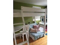A space Warwick white wood high sleeper bed