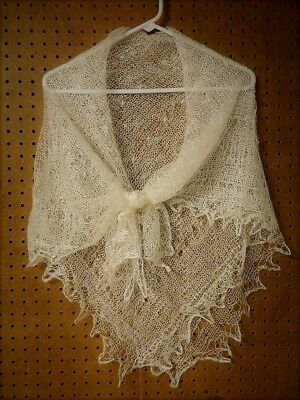 RUSSIAN ORENBURG LACE KNITTED SHAWL SCARF (PASHMINA) COLOR WHITE - Knit Lace Shawls