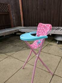 Dolls high chair and dolls bouncer