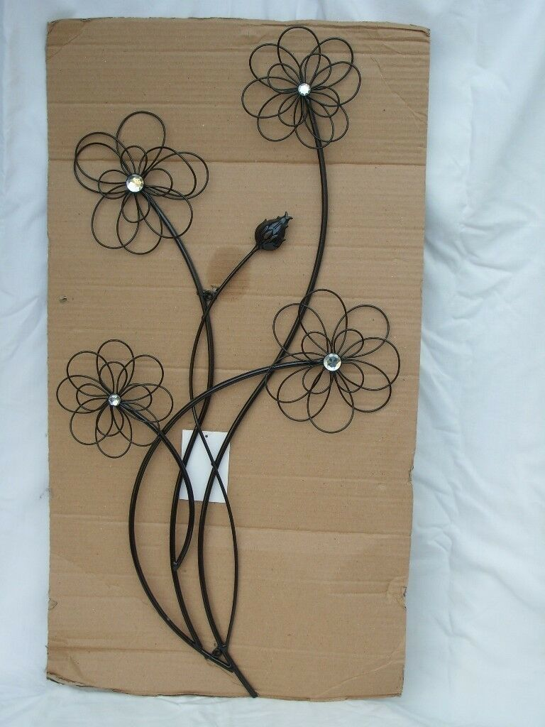 Black Metal Flowers Wall Art New