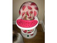 Baby girls high chair Watermelon cosatto