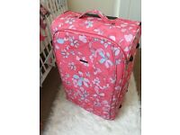Large floral suitcase travel wheeled bag