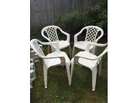 4 White Argos garden chairs
