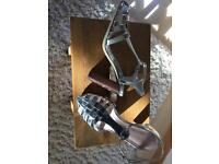 NEXT/Silver strappy shoes/SILVER/Size 5.5/NEW