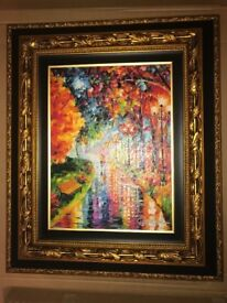 Price Drop - Oil Giclee, Framed and Signed Daniel Wall, Watery Street painting,