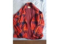 Hollister Plaid Red Navy Blue Shirt Size Large