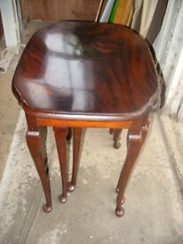 Antique vintage Queen Anne style traditional mahogany nest of tables by H.Shaw from London c.1920