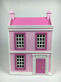 Pink White Wooden Dolls House With Furniture